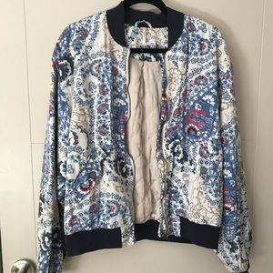 Free People Floral Bomber Jacket - Size M